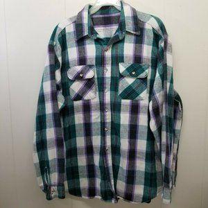 Flannel XXL Shirt Jacket Plaid Green White Purple